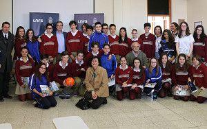 El presidente de la LNFS visita el colegio Sagrado Corazón.