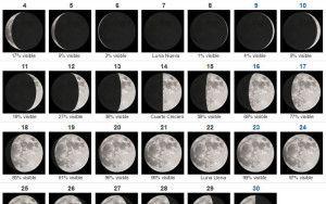 Algunas de las lunas del mes de abril.