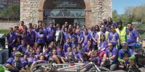 Visita de escolares San Esteban de Gormaz que hacen en bicicleta el camino del Cid