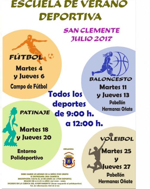 Abierto el plazo de inscripción para participar en la escuela de verano deportiva de San Clemente