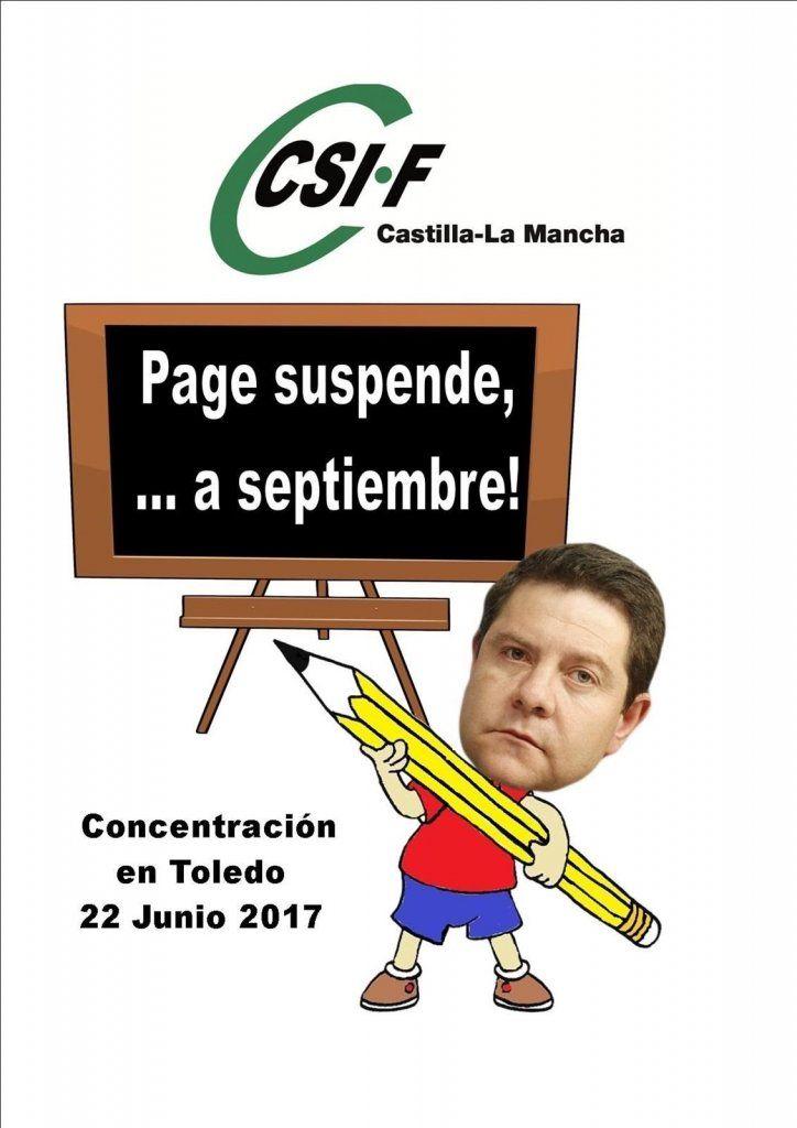CSIF se concentrará este jueves en Toledo bajo el lema 'Page suspende, a septiembre'