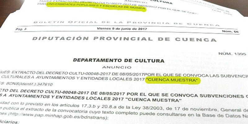 Diputación de Cuenca destina 170.000 euros a la formación y dinamización cultural de los municipios de la provincia