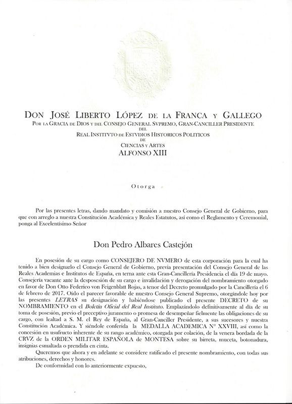 El abogado conquense Pedro Albares, consejero de número del Real Instituto Alfonso XIII