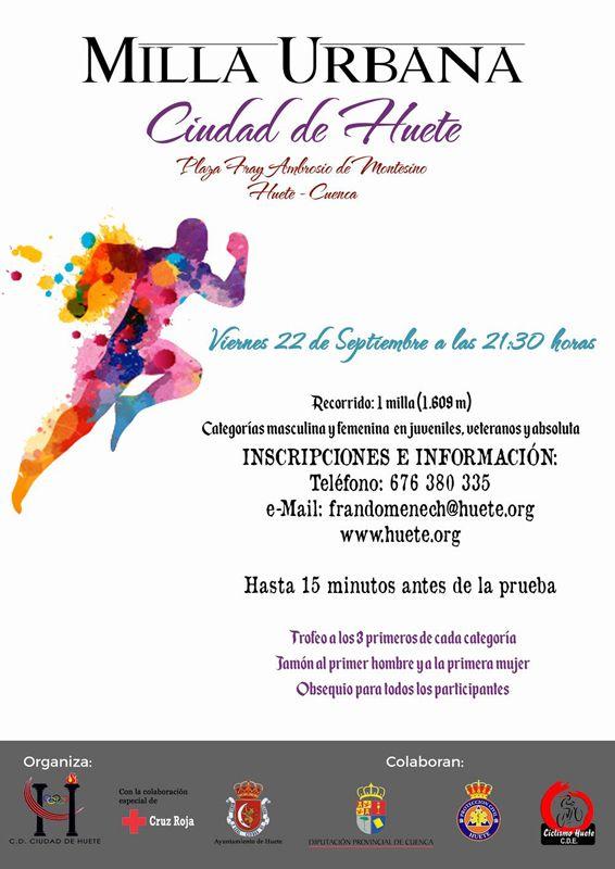 Las Fiestas de La Merced acogerán la prueba de atletismo Milla Urbana Ciudad de Huete