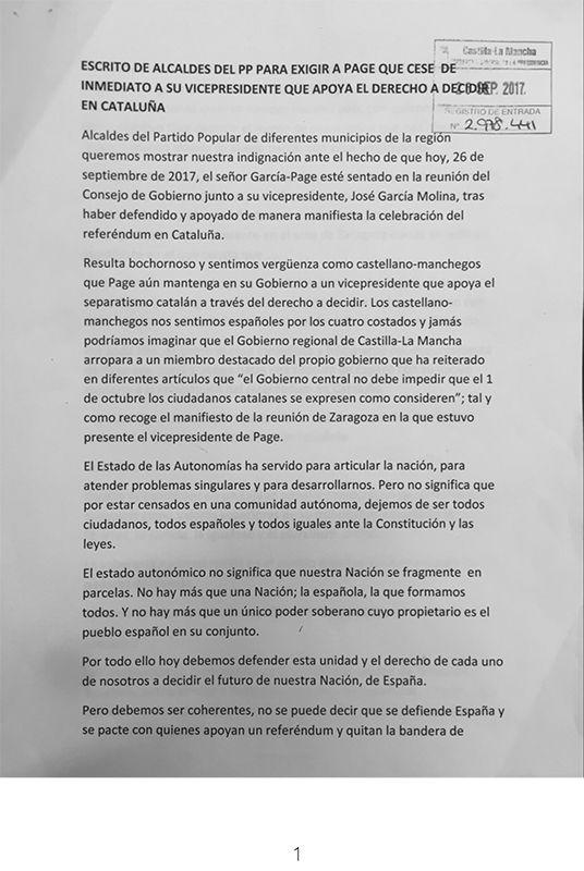 Alcaldes del PP de la provincia de Toledo exigen a Page el cese inmediato de su vicepresidente segundo