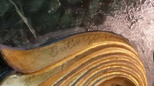 Aparece una firma desconocida en el retablo de la Parroquia El Salvador de Cuenca. Firma