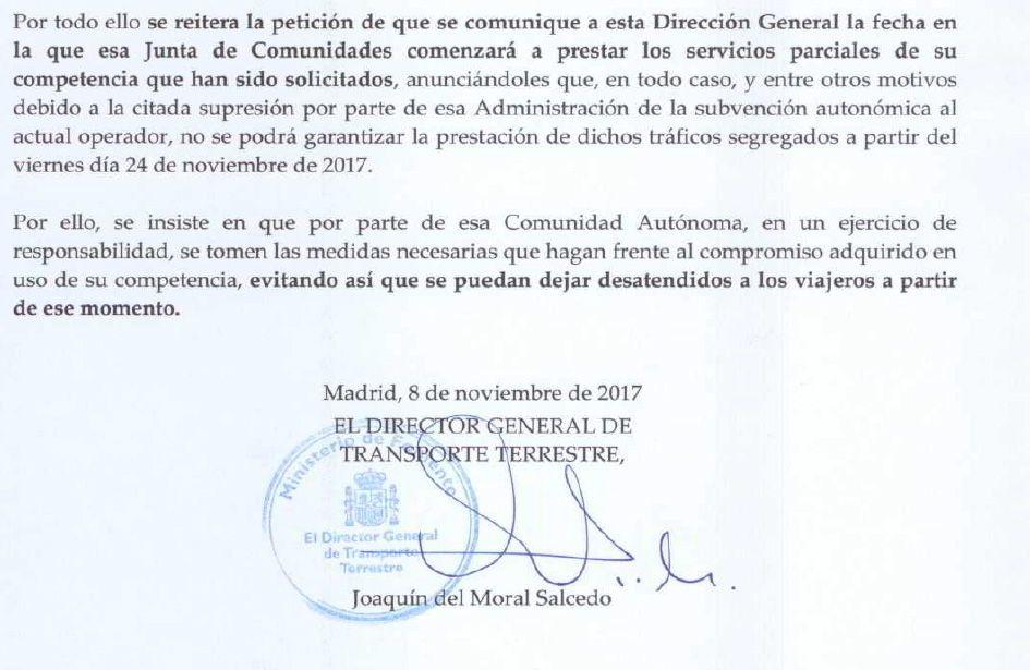 Fomento da un ultimátum al Gobierno de Page y pone fecha para que los autobuses de Monbús dejen de trabajar en Cuenca