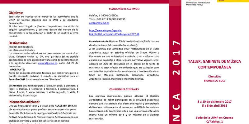 La sede de la UIMP de Cuenca acoge un Gabinete de Música Contemporánea