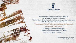 Las fuentes para el estudio de la vida cotidiana de los judíos en la España de la Edad Media llegan al ciclo de conferencias del Archivo de Cuenca