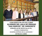 """El Aula de órgano """"San Marcos"""" de Cardenete ofrece su concierto fin de curso"""