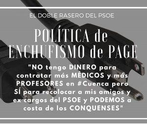 """El Partido Popular alerta sobre """"la constante política de enchufismo"""" del Gobierno de Page en Cuenca"""
