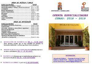 El lunes se abre la reserva de plaza para el curso 18-19 en la Escuela de Folklore de la Diputación de Guadalajara