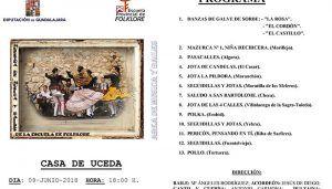 Muestra de música y bailes tradicionales de la Escuela de Folklore de la Diputación de Guadalajara el próximo sábado en Casa de Uceda