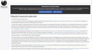 Wikipedia se apaga en protesta contra la reforma del copyright que se vota en el Parlamento Europeo este jueves