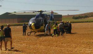 Trasladan grave en helicóptero a uno de los heridos en un accidente de moto en Guadalajara