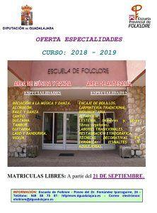 Diputación de Guadalajara abre el plazo de matrícula libre en la Escuela de Folklore