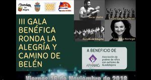 La III Gala Benéfica Ronda la Alegría y Camino de Belén se celebrará este año a beneficio de Apanag