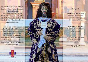 La R.I.E. de Nuestro Padre Jesús Nazareno (vulgo Medinaceli) celebra del 23 al 29 de octubre sus solemnes Cultos