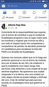 Alberto Rojo se postula para ser el candidato del PSOE a la Alcaldía de Guadalajara