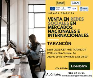 CEOE-Cepyme Tarancón acoge este jueves una jornada para vender en redes sociales más allá de nuestras fronteras