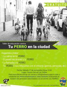 El 17 de noviembre, en el  centro social Los Valles, nueva sesión de los talleres de adiestramiento de perros
