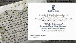 El archivero de la Catedral de Cuenca ofrecerá una conferencia sobre el documento más antiguo del Archivo de Cuenca