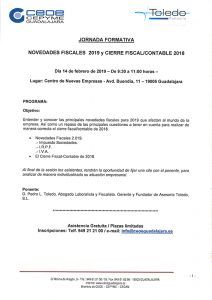CEOE-Cepyme Guadalajara desarrollará una jornada sobre las novedades fiscales para 2019 y el cierre fiscalcontable 2018
