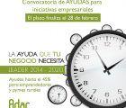El 28 de febrero finaliza el plazo para solicitar las ayudas LEADER para emprendedores y pymes rurales de ADAC
