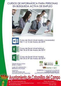 El Servicio Municipal de Empleo del Ayuntamiento de Cabanillas organiza cursos de Word y Excel para personas que buscan empleo