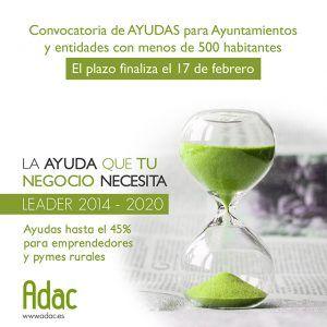 Esta semana concluye el plazo para las solicitudes de ayudas LEADER a municipios menores de 500 habitantes