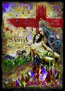 Javier Romero recurre a la Virgen de las Angustias, una cruz, las Casas Colgadas y mucho color para anunciar la Semana Santa 2019 de Cuenca