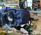 Tres menores salen ilesos de un espectacular accidente de tráfico en Sisante gracias a sus asientos de seguridad