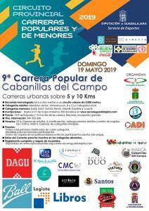 El domingo 19 se celebrará la IX Carrera Popular de Cabanillas, segunda del Circuito Diputación de Guadalajara