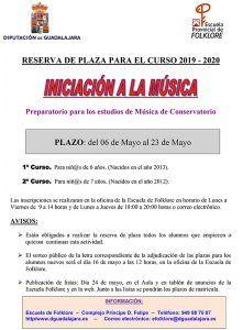 """Hasta el próximo 23 está abierto el plazo de reserva de plaza para """"Iniciación a la Música"""" de la Escuela de Folklore de la Diputación de Guadalajara (Conservatorio)"""