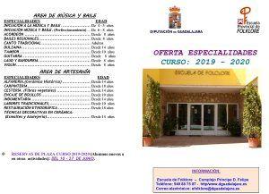 Abierta la reserva de plaza para el curso 19-20 en la Escuela de Folklore de la Diputación de Guadalajara
