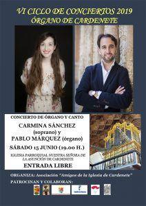 El VI Ciclo de Conciertos del Órgano de Cardenete se retoma con un cocierto a cargo de Pablo Márquez Caraballo y Carmina Sánchez Picazo