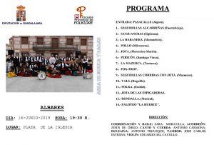 La Escuela de Folklore de la Diputación de Guadalajara ofrecerá este fin de semana dos actuaciones de su Área de Música y Bailes en Valderrebollo y Albares