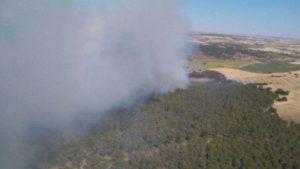 Un incendio en Castejón moviliza a 19 medios, cinco de ellos aéreos, y 92 personas