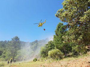 Dos medios y nueve personas luchan contra el fuego en un incendio declarado en Enguídanos