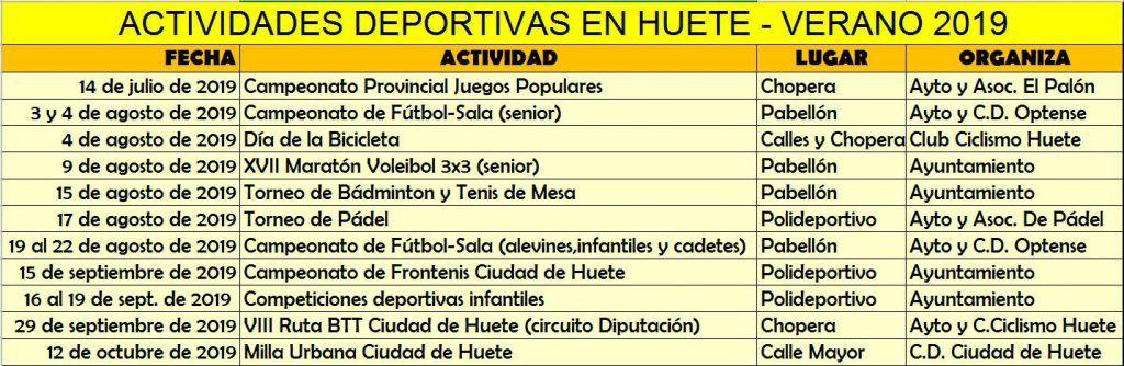 Huete prepara un ambicioso programa de actividades deportivas para este verano
