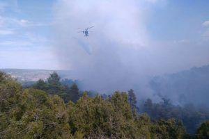 Un total de 41 medios, 16 de ellos aéreos, y 167 personas luchan contra el fuego en Monteagudo de las Salinas