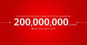 Huawei distribuye 200 millones de unidades de Smartphones en 2019 en tiempo récord