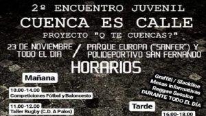 El II Encuentro Juvenil 'Cuenca es Calle' llega este sábado al parque 'SanFer'