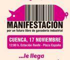 La plataforma Pueblos Vivos convoca una manifestación en Cuenca este domingo para decir no a la ganadería industrial