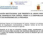 El Grupo Popular en el Ayuntamiento de Cuenca registra una Declaración Institucional para el pleno ordinario del 20 de diciembre sobre el Manifiesto por Cuenca