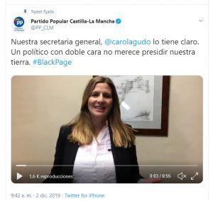 """El PP-CLM denuncia en Twitter bajo el hastag #BlackPage la """"doble cara"""" de Page que """"dice una cosa en medios de comunicación y hace todo lo contrario en la región"""""""