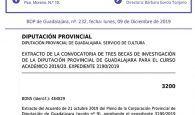 La Diputación de Guadalajara convoca tres becas de investigación
