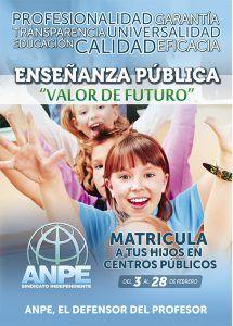 ANPE anima a las familias a matricular a sus hijos en centros públicos