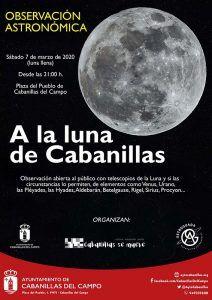El Ayuntamiento de Cabanillas organiza una observación astronómica de la Luna para la noche del sábado 7 de marzo