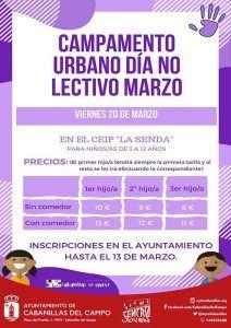 El Ayuntamiento de Cabanillas saca Campamento Urbano para la jornada del viernes 20 de marzo, día no lectivo